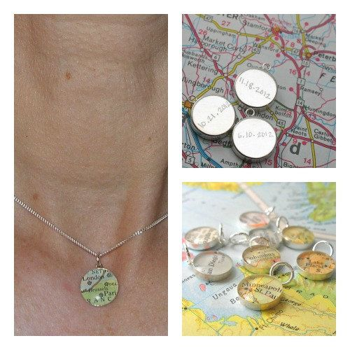 Engraved Necklace Map Necklace Engraved Map Necklace by dlkdesigns, $42.00