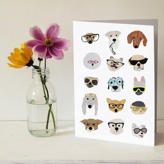 Dogs with Glasses Card via Fancy HuLi | Designer Gift Shop for Animal Lovers #animallover #doglover