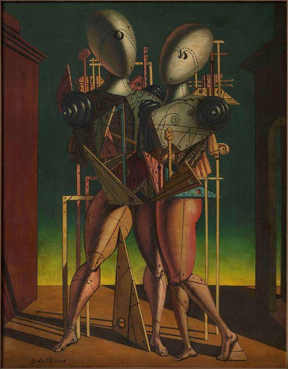 ETTORE E ANDROMACA Georgio de Chirico  GIORGIO DE CHIRICO, Ettore e Andromaca, 1950. Oil on canvas. 90 x 70,5 cm.: