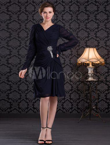 Vestido para la madre de la novia de gasa plisada de azul oscuro de línea A con escote en V - Milanoo.com.  74€