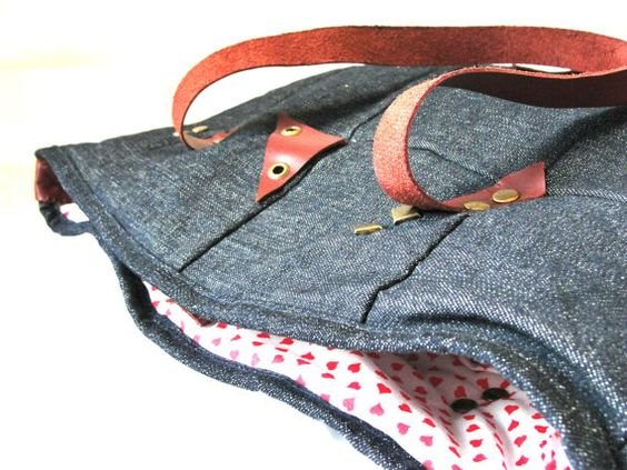 Denim Tote / Indigo library bag / Modern tote by LiduvinaDesign, $60.00