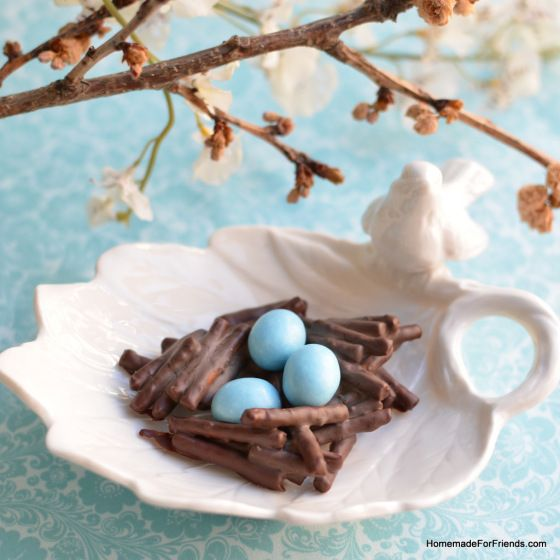 Chocolate Pretzel Nests: with only 3 ingredients, these are so easy to make!