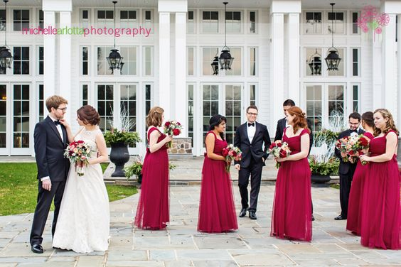 Michelle Arlotta Photography - Landmark Venues' The Ryland Inn winter wedding- bridal party with burgundy dresses