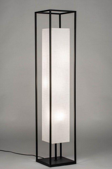 Floor Lamp Lighting Artikel 73308 Moderne Vloerlamp Voorzien Van Een Vierkant Frame En Stoffen Kap Het Armatuur Heeft Een Mat Zwarte Afwerking De Hoge Vierka Lamparas Industriales Muebles De Metal Iluminacion Interior