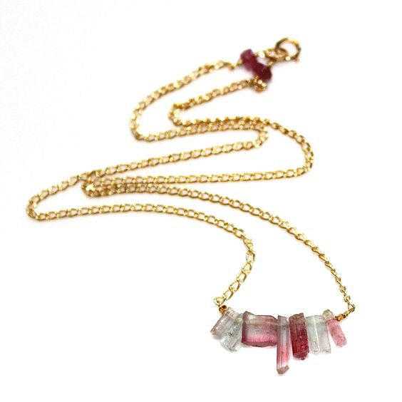 Pink Tourmaline Necklace Blue Tourmaline Everyday Necklace Tourmaline Crystal Necklace Afghani Tourmaline Jewelry Simple Jewelry FizzCandy by FizzCandy on Etsy