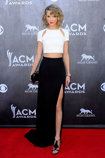 Taylor Swift in J. Mendel two piece dress at ACM Awards