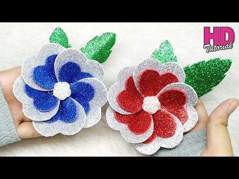 Diy Cara Membuat Bunga Cinta How To Make Glitter Foam Sheet Youtube How To Make Glitter Paper Flower Crafts Paper Flower Template