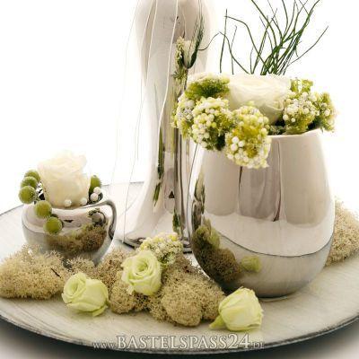 Tischdeko silber für Hochzeit, Silberhochzeit und...