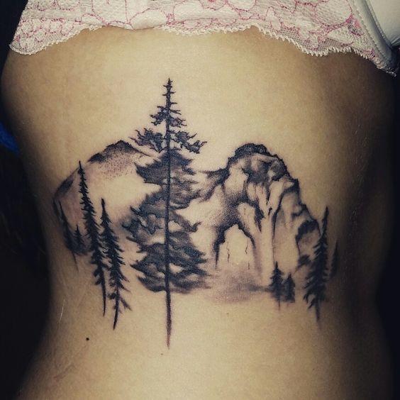 My new landscape rib tattoo. Done at Colt's Timeless Tattoo in  Appleton, Wi…
