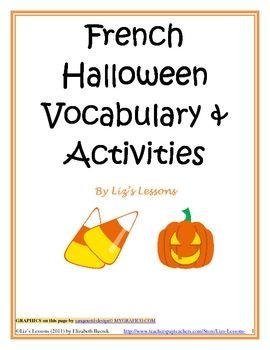 french class vocabulary words and halloween bingo on pinterest. Black Bedroom Furniture Sets. Home Design Ideas