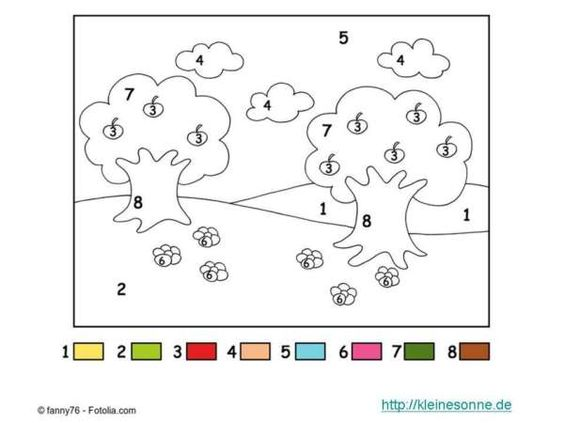 Malen nach Zahlen für Kinder Bäume. Malen nach Zahlen Vorlagen für Kindergarten-Kinder  Mit der Malen nach Zahlen Methode kann jedes Kind schöne Bilder malen, indem alle mit Zahlen markierten Flächen mit Farben der gleichen Zahl ausgemalt werden.