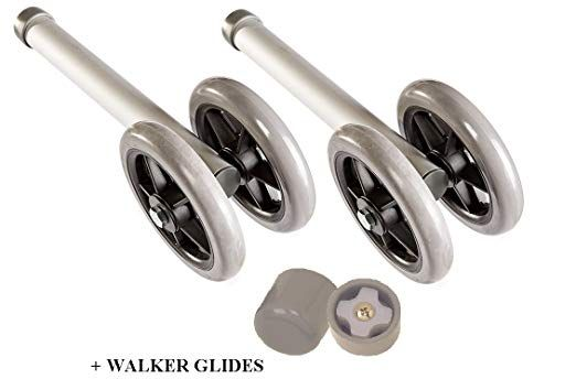 Heavy Duty Bariatric Walker Wheels Pair Universal Replacement Wheel Kit For Walkers With Free Walker Glides Accessories Double 5 Wheels With Glide Tips 1 Pr B Replacement Wheels Glide Heavy Duty