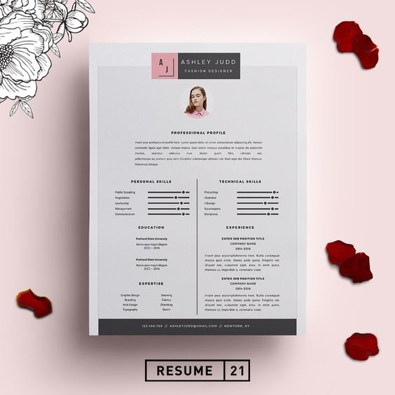 Fashion Designer Resume Template /CV by Resume21 on @creativemarket