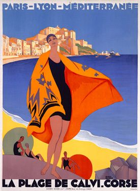 Vintage Travel Poster French Riviera La Plage de Calvi Giclee Print. A woman is at the beach and a orange towel is blowing in the wind. In the period between the wars, Roger Broders was the finest designer of French travel posters.