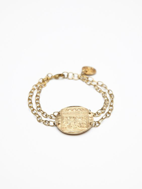 Free People Brass Coin and Chain Bracelet, $68.00