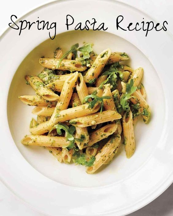Bright and Easy: Pasta Recipes for Spring | Martha Stewart Living - Create a colorful yet minimal palette with emerald-green arugula. The peppery greens do double duty: First, they're blended with garlic, Parmesan, lemon juice, and toasted almonds for the sauce. Then, whole leaves are scattered over the finished dish. The penne's ridges and hollow center help capture the sauce -- the better to taste it, too.