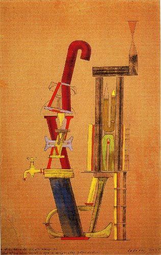 Max Ernst, Von minimax dadamax selbst konstruiertes maschinchen - Little Machine Constructed by Minimax Dadamax in Person , 1919-1920.
