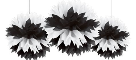 Black & White Fluffy Decorations 3ct - Party City