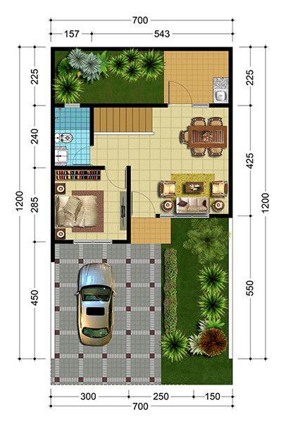 Desain Denah Rumah Ukuran 7x12 - All Desain