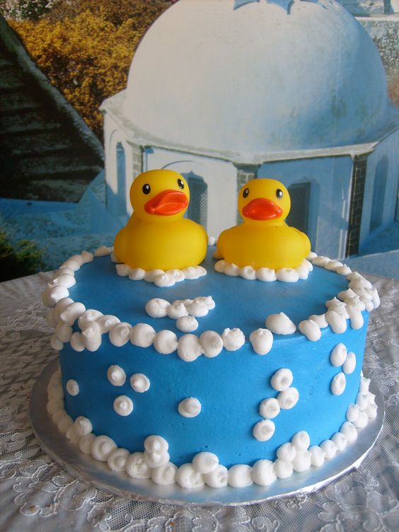 Rubber Ducky Cake With Bubbles