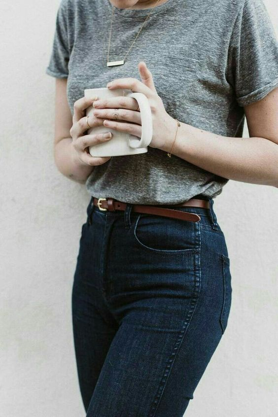Heather Grey Tee + High-Waisted Jeans