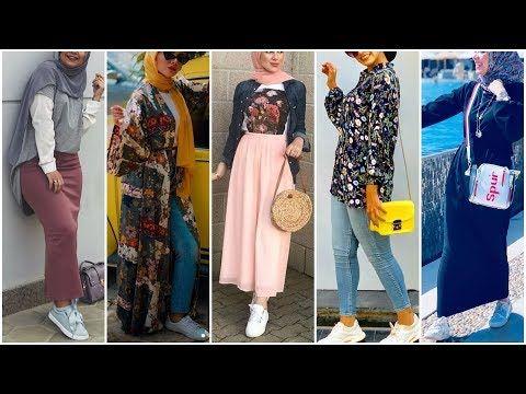 تنسيقات جديدة ومتنوعة للمدرسة والجامعة موضة 2020 اجمل تنسيقات ملابس بنات محجبات2019 2020 Youtube In 2021 Fashion Kimono Top Women