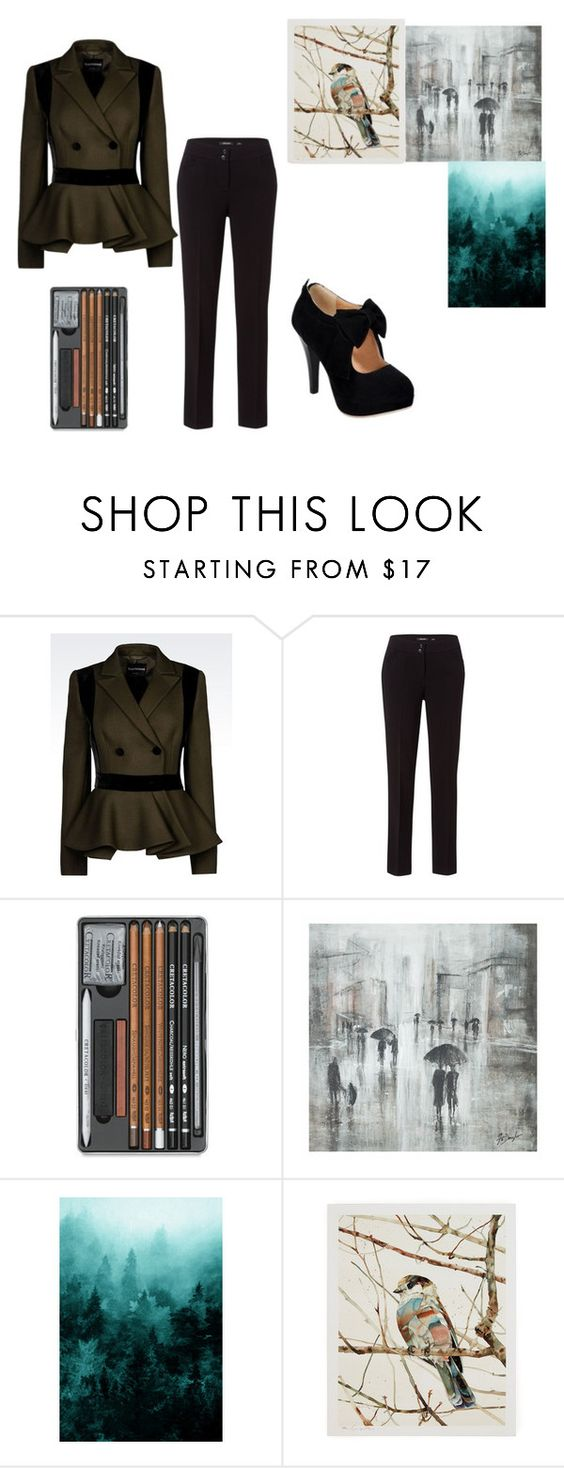"""Art School"" by fullmoonlover ❤ liked on Polyvore featuring Emporio Armani, Olsen and Leftbank Art"