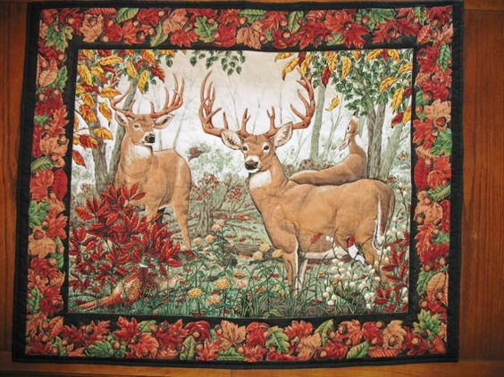 Deer Wall Hanging or Table Topper Quilted by PicketFenceFabric, $32.00
