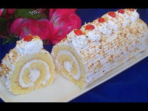 كيك رولي ناجح بالكريمة او سويسرول روشي بطريقة سهلة وشرح مبسط للمبتدئات يستحق التجربة Youtube Cake Krispie Treats Rice Krispies