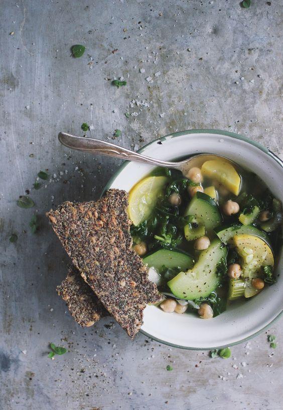 Summer Squash Soup with Herb Seeded Crispbread - With Food + Love: Herb Crispbread, Herbs Served, Chickpeas Herbs, Food Network/Trisha, Summer Squash Soup, Food Drink, Healthy Soups, Healthy Food