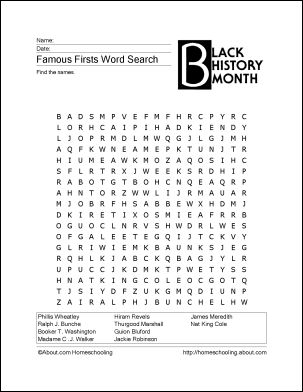 Printables Free Printable History Worksheets 6 printable word games for black history month words searches httphomeschooling about com