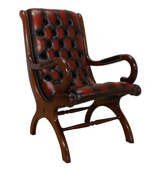 Chesterfield york slipper chair antique oxblood leather leather sofas