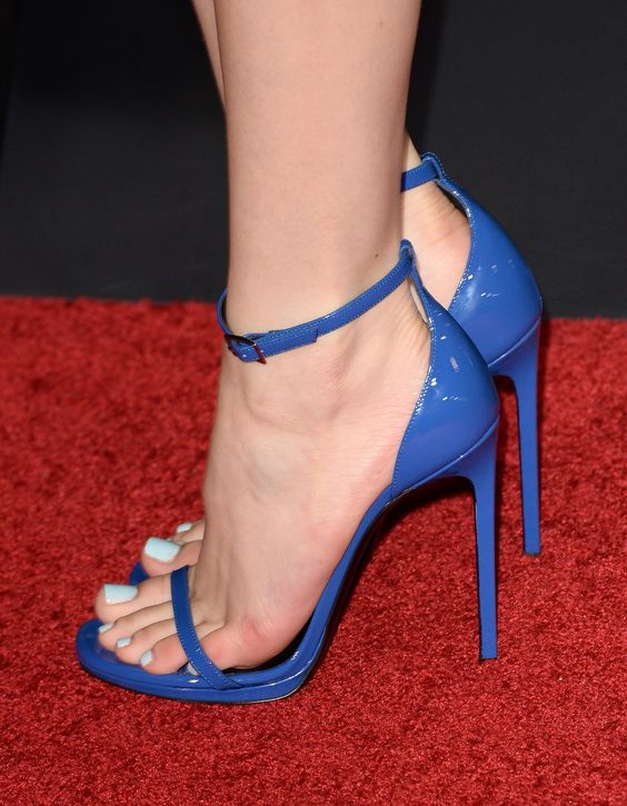 bella thorne's blue patent sandals. #shoeporn | celebrity high ...