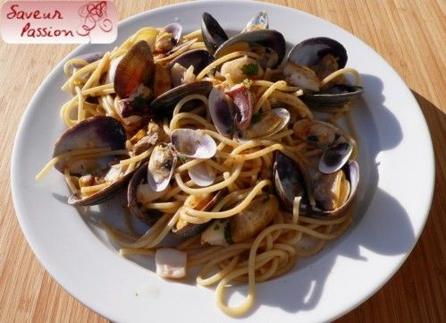 spaghetti amandes tellines calamar à l'ail