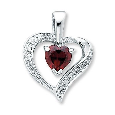 Garnet Heart Charm With Diamond Accents Sterling Silver. compromise. wedding present