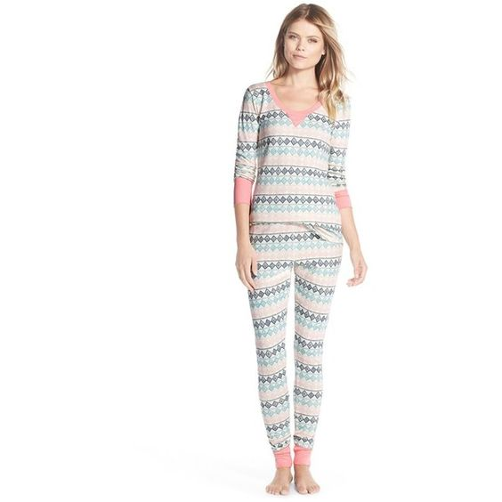 Make + Model Thermal Pajamas (305 NOK) ❤ liked on Polyvore featuring intimates, sleepwear, pajamas, ivory pristine diamond stripe, thermal pjs, striped pajamas, thermal pajamas, thermal sleepwear and long sleeve pajamas