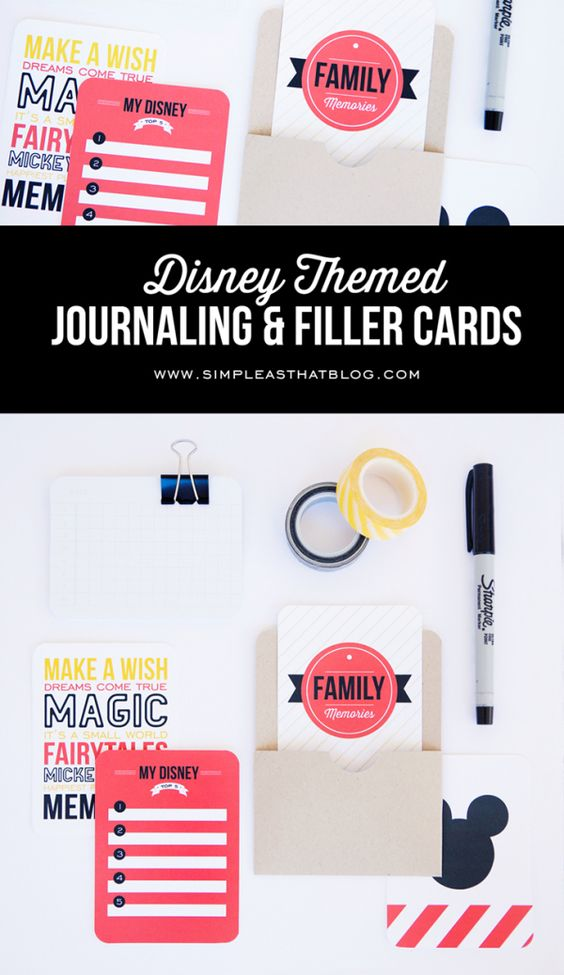 Free Disney Themed Journaling and Filler Cards #freeprintables #projectlife