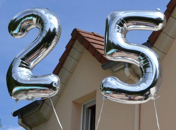 25 ans anniversaire r tro combi vert d 39 eau gris blanc for Decoration 25 ans