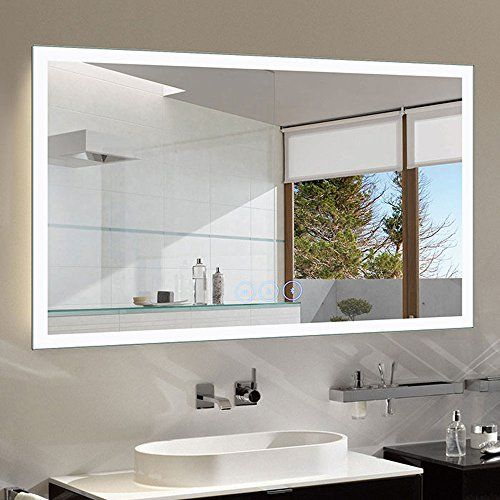 Decoraport Dimmable Led Bathroom Mirror Antifog With Bluetooth 55x36 In Wall Mounted Mirror With In 2020 Led Mirror Bathroom Modern Bathroom Lighting