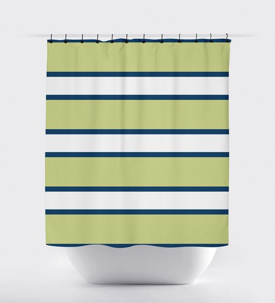 Blue Green Striped Shower Curtain Blue Products And Curtains