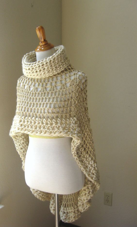 Knitting Pattern Turtleneck Capelet : 1 Beige Bohemian Poncho Crochet Knit Cream Cape Shawl Turtleneck Boho Chic Hi...