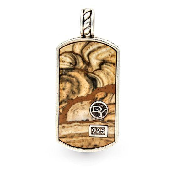 David Yurman Jasper Exotic Stone Tag Pendant in Sterling Silver #DavidYurman #Pendant