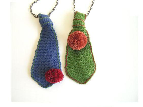 Blue Funky Tie with Red Pom Pom Brooch by leninka on Etsy, $42.00