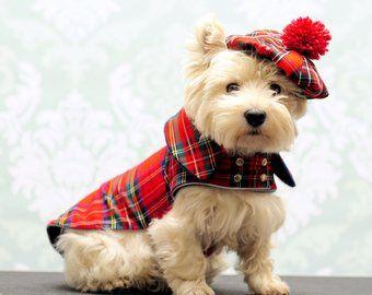 Westie Plaid Cap Tweed Dog Cap Scottish Plaid Tam Westie Etsy Dog Coats Tartan Dog Dog Clothes
