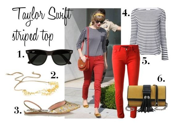 """""""Taylor Swift's Striped Street Style"""" by melboteri ❤ liked on Polyvore featuring A.L.C., dVb Victoria Beckham, Rochas, Jennifer Behr and Ray-Ban"""