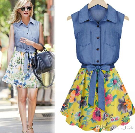 2015 Summer Dresses for Women Ladies Denim Shirt Printed Skirt ...