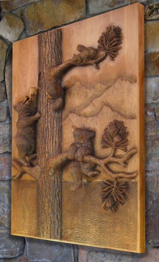 High relief wall sculpture three bears in the honey tree