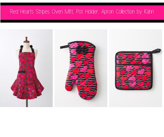 Red Hearts Stripes Oven Mitt, Pot Holder, Apron Collection by Kahri