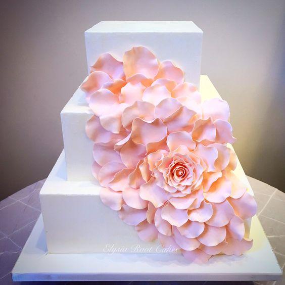 Beautiful blooming flower 3 tier wedding cake by Elysia Root Cakes. #weddingcake #cake #wedding #weddinginspiration #customcake