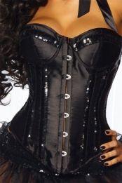 Sexy Satijnen Korset Zwart